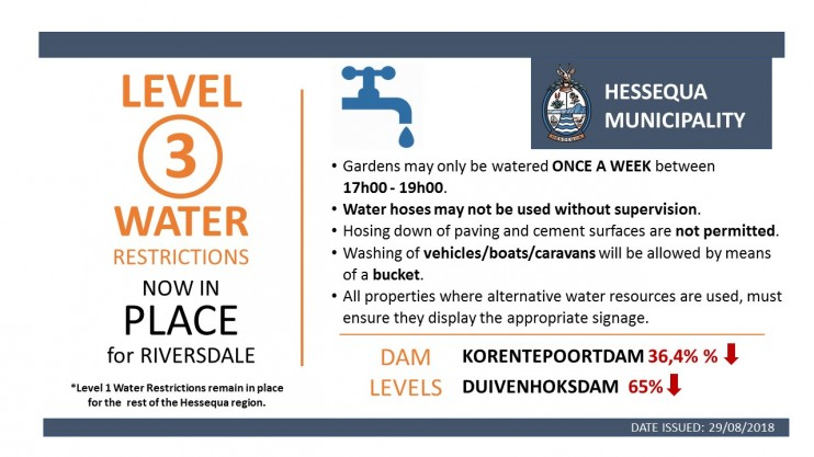 WATER RESTRICITIONS LEVEL 3 RIVERSDALE